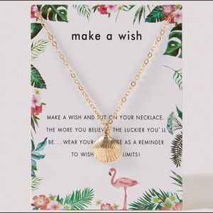 Gold Seashell Make a Wish Necklace